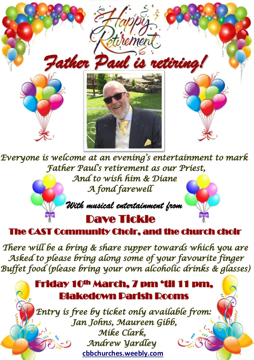Churchill church, Blakedown church, Broome church; Father Paul's leaving do poster