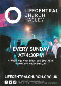 Churchill church, Blakedown church, Broome church; LIFECENTRAL Church, Hagley poster